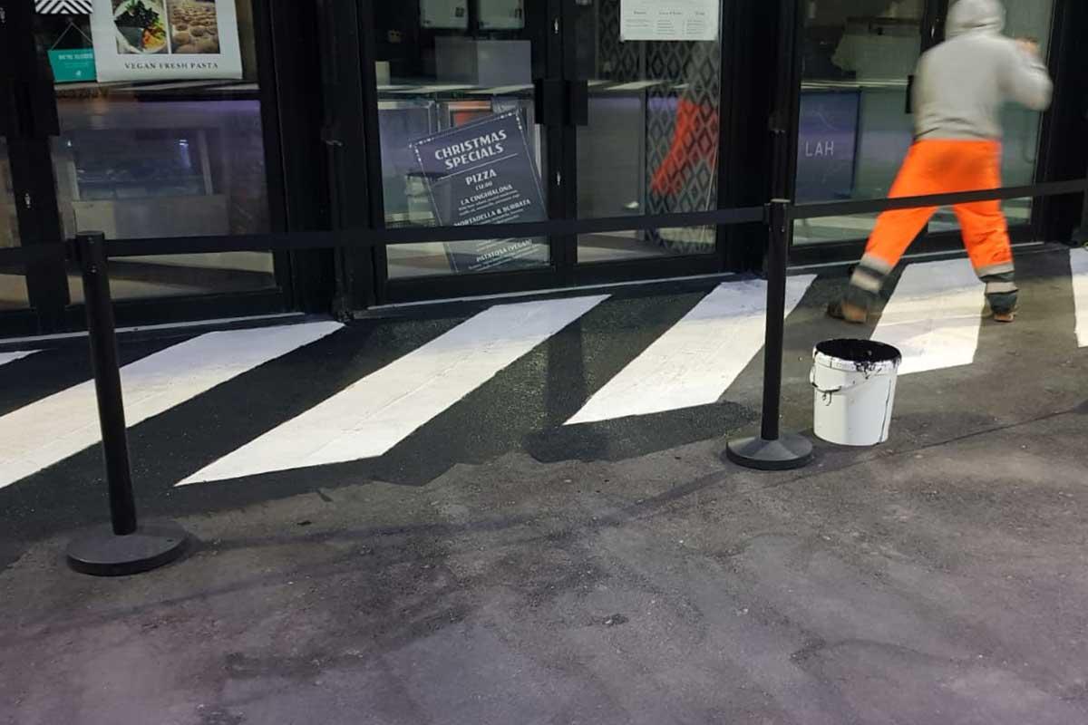 Black Tarmac Paint Application at BOXPARK Croydon